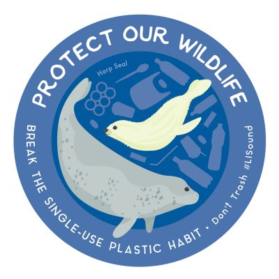 Protect Our Wildlife Sticker with harp seals