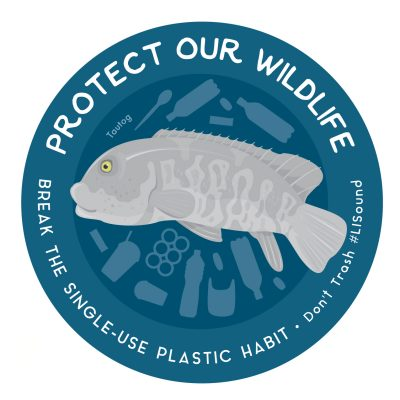 Protect Our Wildlife sticker with tautog