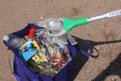 Plastic balloons, water bottles and monofilament fishing line were among the trash picked up by volunteer Karri Beauton during the cleanup.