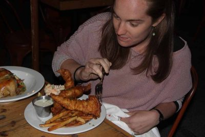At least two servings per week of seafood such as this fish and chips meal served at RD86 Space restaurant in New London are recommended by the FDA for a healthy diet.