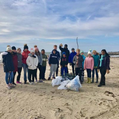 Members of the youth group from the Old Lyme Congregational Church spent Veterans Day Nov. 11 collecting and disposing of trash from White Sands Beach to Griswold Point.