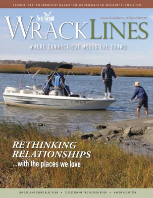 Cover of Fall-Winter 2019-20 issue of Wrack Lines magazine, showing recreational fishermen leaving from Great Island State Boat Launch in Old Lyme.