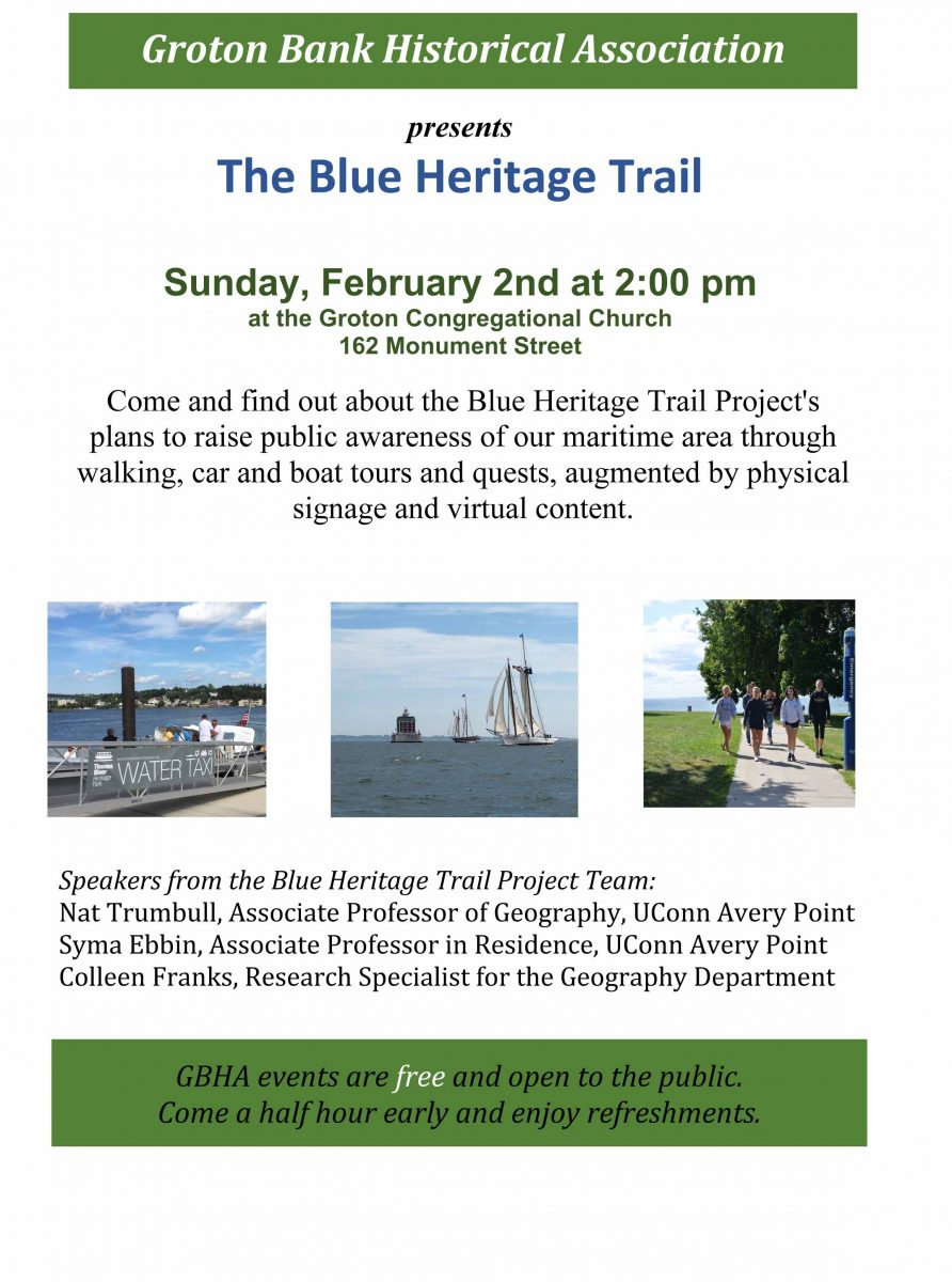 Flyer for Blue Heritage Trail talk on Feb. 2.