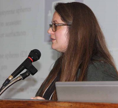 UConn doctoral student Vena Haynes gave a presentation about research into microplastics and shellfish.