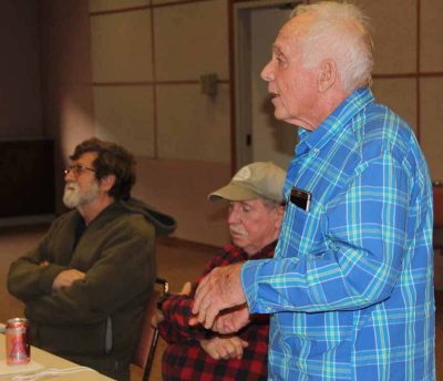 Allyn Brown, member of the Guilford Shellfish Commission, asks a question during the gathering.