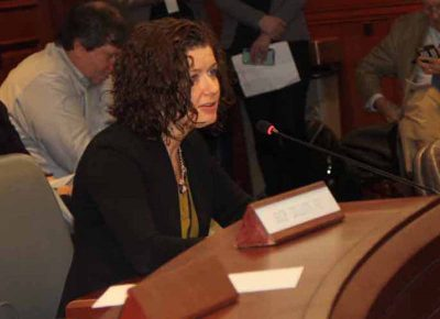 Katie Dykes, commission of the state Department of Energy and Environmental Protection, was the first to testify at the public hearing on the Long Island Sound Blue Plan.