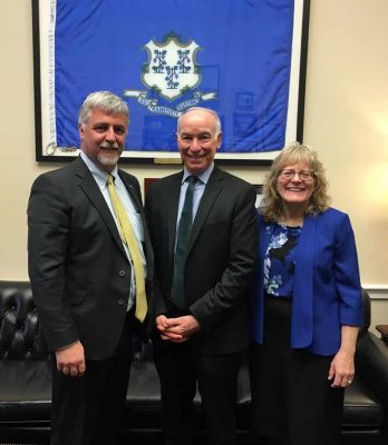 Rep. Joe Courtney, center, met with CT Sea Grant Director Sylvain De Guise, left, and Associate Director Nancy Balcom at his Washington, D.C., office on March 10.