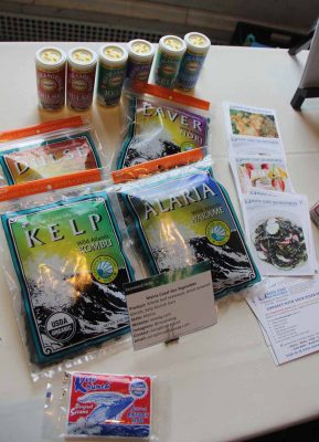 Four varieties of dried seaweed and kelp seasonings were among products from Maine displayed at the Seaweed Showcase.