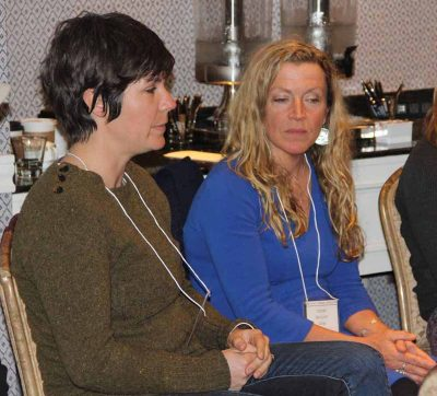 Suzie Flores, left, owner with her husband Jay of the Stonington Kelp Co.in Connecticut, and Karen Gray, right, California reef manager and policy & planning specialist with Greenwave, listen during one of the work group sessions.