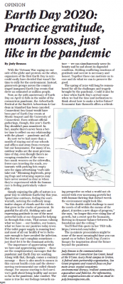 Earth Day article from Connecticut Hearst newspapers
