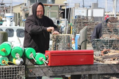 Josiah Dodge works on a lobster trap and the Town Dock in Stonington this spring. Dodge catches lobsters and fish from his boat Cricket.