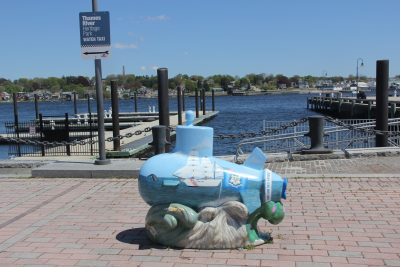 The Downtown New London Waterfront Park Quest begins at the submarine statue near City Pier.