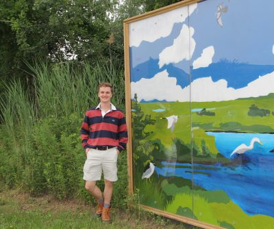 Andrew Tienken visits the Great Meadows Marsh in Stratford on July 7. It is one of the 20 wetland sites that provided data he is analyzing for his project.