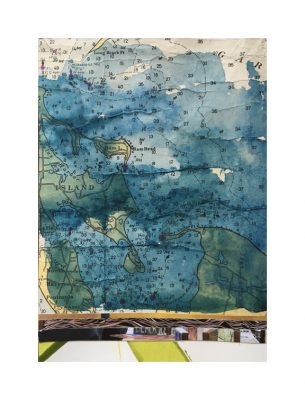 One of the watercolor images using vintage nautical charts created by Kathryn Frund.