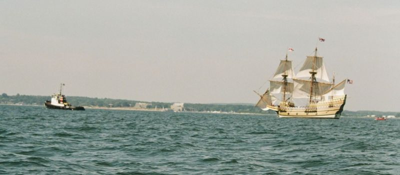 The replica of the Mayflower, recently refurbished at Mystic Seaport, does sail training exercises in July and August in Long Island Sound near the UConn Avery Point campus, where CT Sea Grant is based.