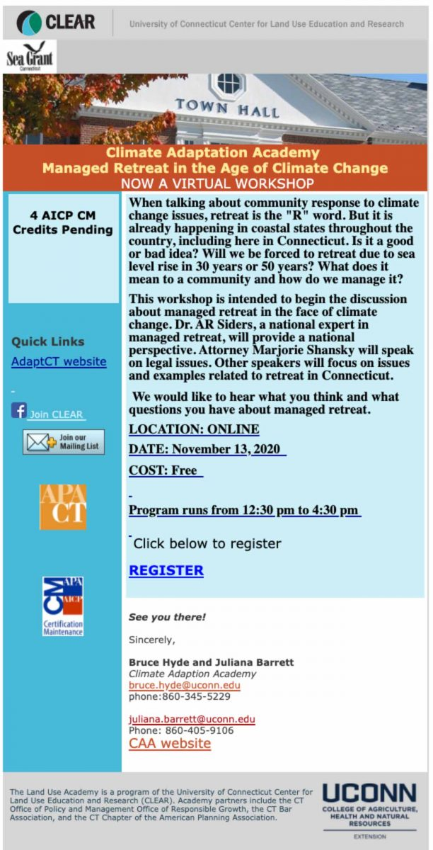 Managed retreat workshop flyer