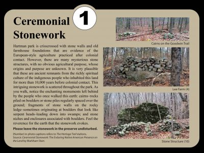 Sign about ceremonial cairns at Hartman Park.