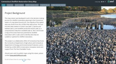 The Connecticut Shellfish Restoration Story Map was launched on April 26, 2021, to help aide in shellfish restoration planning.