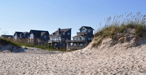 Beachfront homes in a Connecticut coastal community
