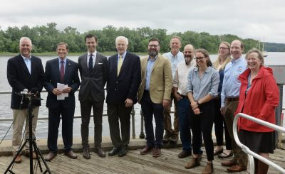 Sen. Richard Blumenthal, second from left, joins representatives of the 15 groups that are thus far supporting the efforts to obtain funding for control of hydrilla in the Connecticut River. Judy Preston / Connecticut Sea Grant