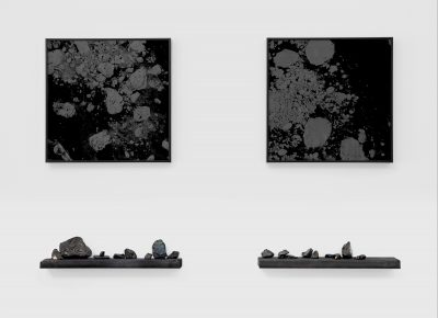 """""""Multiplier"""" is the title of this work using sea coal found on local beaches by artist Joseph Smolinski."""