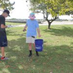 : Logan Stollenwerck, left, and Zacharie Aldrich, both volunteers at the Maritime Aquarium of Norwalk, were among the more than 25 volunteers who participated in the cleanup at Sherwood Island State Park in Westport to kick of the #DontTrashLISound - #DoOneThing campaign.