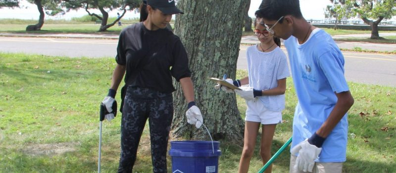 The Mehta family were among volunteers at the Sherwood Island State Park cleanup that launched this year's #DontTrashLISound-#DoOneThing campaign.