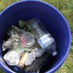 The bucket of trash collected by the Mehta family included empty cognac and wine bottles and many plastic food wrappers.