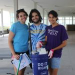 Amanda Schneider, left, Nick Imbrogno and Jillian Mastro, all of Fairfield, collected 2½ pounds of trash, including an umbrella poll, empty bakery boxes and several cans and bottles.