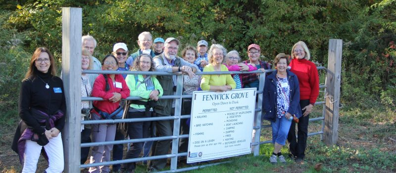 Graduates of the 2020 and 2021 Coastal Certificate program gather for a hike at Fenwick Grove in Old Saybrook on Oct. 23.